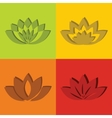 Color flat flowers with short shadow vector image vector image