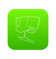 Computer monitor and cpu unit icon green