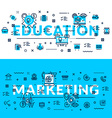 Education and Marketing headings titles web banner vector image