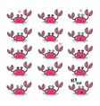 emoticons set cute crab in cartoon style vector image vector image