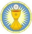 Eucharist Christian Symbol circular emblem vector image