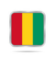flag of guinea shiny metallic gray square button vector image vector image