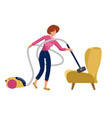 funny woman vacuuming a sofa armchair on white vector image