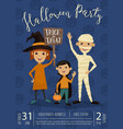 halloween party banner design with kids vector image vector image