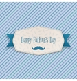 Happy Fathers Day greeting Label with blue Ribbon vector image vector image