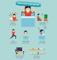 how to get sleep better infographic vector image vector image