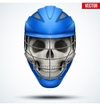 human skull with lacrosse helmet vector image vector image