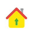 icon concept of house with arrow moving up vector image vector image