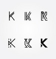 initial letter k logo typo pack vector image vector image