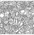 manicure hand drawn doodles seamless pattern vector image vector image