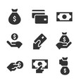 money black icons on white background money vector image