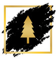 new year tree sign golden icon at black vector image