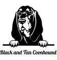 peeking dog - black and tan coonhound breed - head vector image vector image