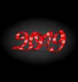 red inscription happy new year 2019 on black vector image