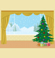room with christmas tree and gifts vector image vector image