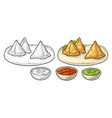 samosa on board with sauces in bowl color vector image