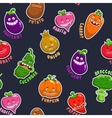 Seamless pattern with vegetable characters vector image vector image