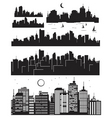 set of cities silhouettes vector image vector image