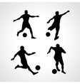 set silhouettes soccer players vector image