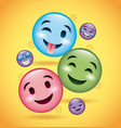 smiles emoji smiling tongue out and happy faces vector image