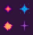 stars set pixel space game icons starry galaxy vector image