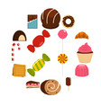 sweets and candies icons set in flat style vector image