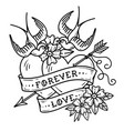 tattoo two hearts pierced by arrow forever love vector image vector image