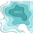 turquois blue abstract layout - paper cut vector image
