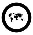 world map black icon in circle vector image