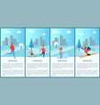 wintertime collection and city vector image
