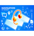 bright navigation map and head phone on blue vector image