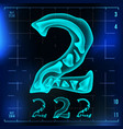 2 number two roentgen x-ray font light vector image vector image