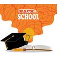 back to school graduation hat book pencil vector image