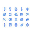 beer blue line icon flat vector image
