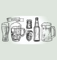 beer set engraving vector image