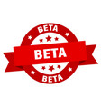 beta ribbon beta round red sign beta vector image vector image