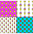 bright summer seamless patterns neon colors vector image