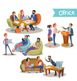 businessman with subordinates holding talks vector image