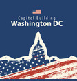capitol building in washington dc with usa flag vector image vector image