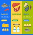 cartoon food with vitamin b12 banner vecrtical set vector image vector image