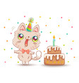 cat with birthday cake vector image vector image