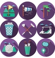 Circle flat icons for golf vector image vector image