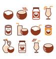 coconut milk oil cocktail - healthy food vector image vector image