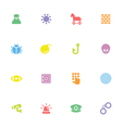 colorful simple flat icon set 7 vector image vector image