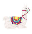 cute llama sitting on ground wearing decorative vector image vector image