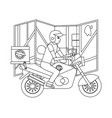 delivery guy in motorcycle vector image vector image