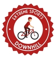 downhill extreme sport emblem vector image