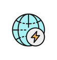 globe with energy sign earth energy flat color vector image