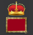 glowing lamp frame and golden royal crown vector image vector image