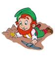 Gnome with pickaxe and gold bar vector image vector image